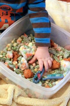 Simple edible sensory play with frozen veggies for babies and toddlers