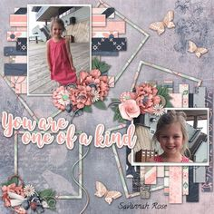 Created with the beautiful July Collaboration kit, One of a Kind,by the designers at goDigitalScrapbooking. This beautiful kit is perfect for many genres of layouts ,such as Weddings, Family, and other celebrations. Done in shades of pink, purple and blues it is perfect for black and white photos. Contains 119elements,43 papers ,word art, clusters,12x12 template ,two alphabets, gradient papers, and splatters.