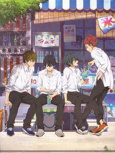 Makoto Tachibana, Haruka Nanase, Ikuya Kirishima, and Asahi Shiina I Love Anime, Anime Guys, Deku Anime, Free Eternal Summer, Splash Free, Anime Group, Free Iwatobi Swim Club, Kyoto Animation, Anime Lindo