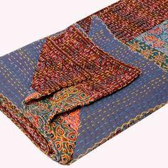 patchwork quilt, kantha Quilt, handmade quilt Kantha Throw, Cotton Blanket, Indian Bedding, bohemian quilt Kantha Twin Size
