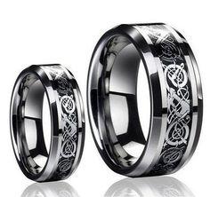 Tungsten Wedding Band,Wedding Band Set Matching,Silver Dragon Design Tungsten Carbide Wedding Band Ring Set ,8MM,6MM