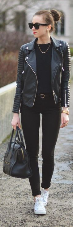 Almost All Black Everything - black leather moto jacket with sweater, skinny jeans handbag sneakers