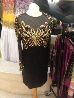 Black Gold Beaded Sequin Pearl Trophy Dress Sheer Long Sleeve - I want sequins!