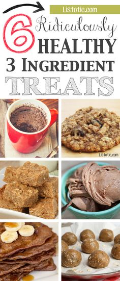 Healthy and SUPER easy 3 ingredient recipes! The perfect guilt-free snacks and treats! You can make most of these with ingredients you probably already have.