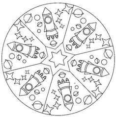 Space mandala coloring page for kids Space Coloring Pages, Mandala Coloring Pages, Coloring Sheets, Space Projects, Space Crafts, Mandalas For Kids, Space Solar System, Outer Space Theme, Space Activities