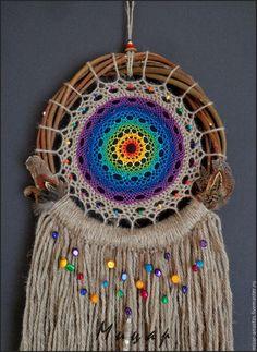 """Купить Ловец снов """"Солнечный Ветер"""" - ловец снов, ловцы снов, ловцы сновидений Dream Catcher Mandala, Dream Catcher Boho, Form Crochet, Crochet Home, Crochet Dreamcatcher, Hobbies And Crafts, Fall Crafts, Handmade Crafts, Wind Chimes"""