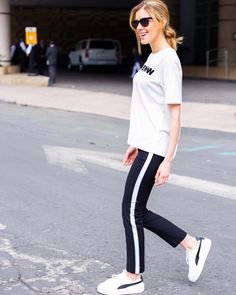 Black and white joggers with a t-shirt and Puma tennis shoes is a great 48b5b845f