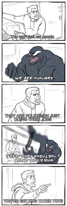 I didn't see Venom but this is still hilarious Funny Marvel Memes, Dc Memes, Marvel Jokes, Funny Comics, Funny Memes, Hilarious, Funny Quotes, Venom Comics, Marvel Venom