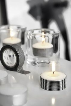 Blackand white tape around votives to add ommmphhh