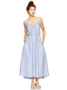 Gap Low Back Maxi Dress - blue stripe  #Chelsea Slaven Davies  http://cincuentopia.com