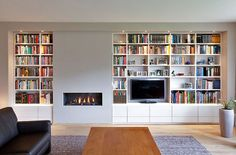 ideas home library modern fireplaces Home Living Room, Home, Home Fireplace, Fireplace Bookshelves, Fireplace Design, House Interior, Modern Fireplace, Home And Living, Home Library