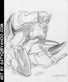 Avengers Classic Mockingbird Crouching With Staves By SatyQ On DeviantART