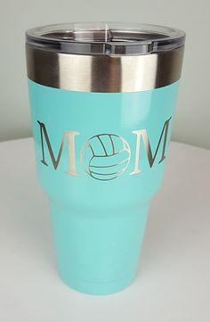 Volleyball Mom II Custom Powdercoated Tumbler. Available in 30oz and 20oz Sizes from Yeti or Ozark Trail