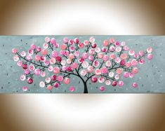 Pink grey abstract painting whimsical art nursery art abstract swirl tree painting wall art wall decor Impasto canvas art by qiqi Diy Tree Painting, Autumn Painting, Painting Abstract, Colorful Abstract Art, Abstract Flowers, Art Mur, Home Decoracion, Black And White Painting, Black White