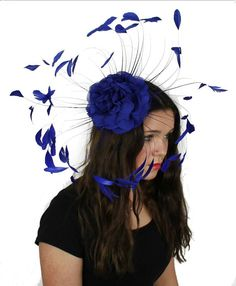 Royal Blue Fascinator Hat for Weddings Races and by Hatsbycressida