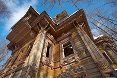 Verlaten Russische houten huizen