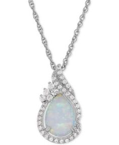 Be enraptured by the gorgeous colors within this iridescent lab-created pear-shape opal ct.) and lab-created round-shape white sapphire ct.) pendant necklace designed in sterling silver. Opal Necklace, Opal Jewelry, Fine Jewelry, Pendant Necklace, Sapphire Jewelry, Jewellery, Sapphire Pendant, White Sapphire, Necklace Designs