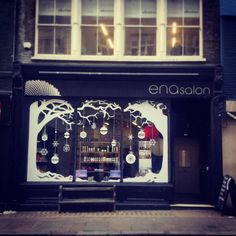 ENA HAIR SALON- holiday window could also be done on mirrors