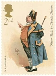 Charles Dickens commemorative stamps for Royal Mail with illustrations by Joseph Clayton Clarke: 2nd Class, Mr Bumble from Oliver Twist