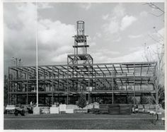 Steel structure of Jackman Hall, ca. 1965
