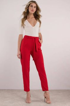 Be a trendsetter in the Nobody's Business Tapered Pants. Featuring a high waist with a tie belt. Pair these pants with an off shoulder top. Classy Outfits, Casual Outfits, Cute Outfits, Fashion Outfits, Beautiful Outfits, Girly Outfits, Work Outfits, Pretty Outfits, Winter Fashion