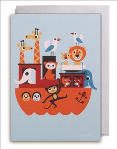 Greeting #Card Ark from Noah by #Ingela P #Arrhenius from www.kidsdinge.com https://www.facebook.com/pages/kidsdingecom-Origineel-speelgoed-hebbedingen-voor-hippe-kids/160122710686387?sk=wall #kidsdinge #kids #toys #speelgoed