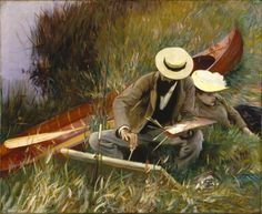 John Singer Sargent - Paul Helleu Sketching with his Wife or An Out-of-Doors Study. x cm, Oil on canvas, Brooklyn Museum of Art Museum Collection Fund Google Art Project, Brooklyn Museum Of Art, Art Ancien, Kunst Online, Tile Murals, Love Painting, Painting Tips, Painting Techniques, Oeuvre D'art