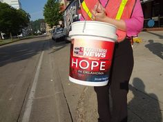 """WCHS & WVAH TV """"Hope in Oklahoma"""" boot drive #OKstrong May 30, 2013 These buckets need filled! Please do what you can."""