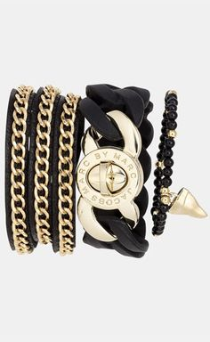 Marc by Marc Jacobs & Tasha Bracelets  Could make a diy bracelet of the very left one with black leather and a gold chain.