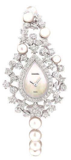"Chanel Fine Jewellery ""Voie lactée"" watch in 18ct white gold, pearls & diamonds."