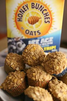 Honey Bunches of Oats Cinnamon Strudel Muffins ad jbbb Honey Recipes, Oats Recipes, Cereal Recipes, Smoothie Recipes, Muffin Recipes, Baking Recipes, Yummy Recipes, Recipies, Yummy Food