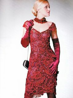 Beautiful Red Dress, hand made - Free form Crochet patterns Free form jacket Irish lace by sneg78