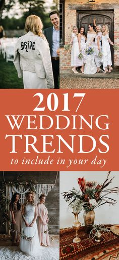 These fashion-forward details are popping up in weddings all over the world this year and we can't get enough! If you've been feeling uninspired about your wedding design, consider including one of these 2017 wedding trends in your upcoming day! | Junebug Weddings