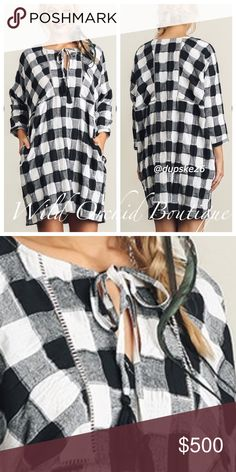 """❇️Coming Soon❇️ Black and white plaid dress with crochet details on bodice. Would be so cute with black boots! Could even add black leggings for super cute, warm cozy style. S-M-L. Cotton blend. Measurement details to come. (Model 5'8"""", wearing small) Dresses"""