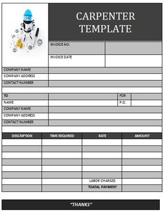 CARPENTER INOICE TEMPLATE Carpenter Invoice Templates - Carpenter invoice template