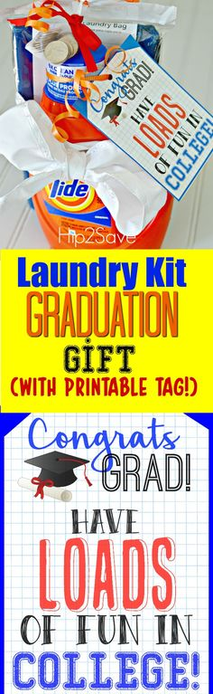 graduation celebration free printable Graduation Gift Idea: Laundry Kit with Free Printable Gift Tag Unique Graduation Gifts, High School Graduation Gifts, Graduation Diy, College Gifts, Graduation Celebration, Grad Gifts, Teacher Gifts, Graduation Presents, Graduation Parties