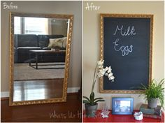 DIY Chalkboard Tutorial -Turn an unused mirror into a chalkboard while keeping the mirror intact! Yes, switching it back to a mirror is easy peasy; no scrubbing away paint or redoing! Chalkboard Mirror, Chalkboard Spray Paint, Make A Chalkboard, Magnetic Chalkboard, Old Mirrors, Mirror Painting, Diy Mirror, Diy Craft Projects, Crafts