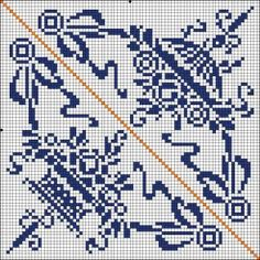 Two patterns for corners - Cross stitch or filet crochet.
