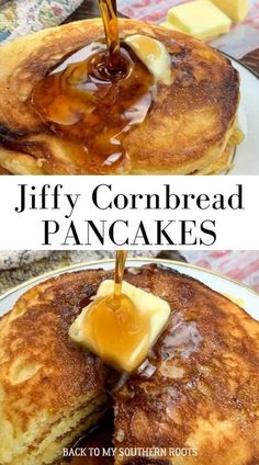Jiffy Cornbread pancakes with buttermilk are a rich and delicious. The simple recipe only requires a few ingredients and you're on your way to the most delectable pancakes you've ever eaten. #Jiffy #cornbread Jiffy Cornbread Recipes, Homemade Cornbread, Brunch Casserole, Cornbread Casserole, Cornbread Mix, Hoe Cakes, Breakfast Dishes, Breakfast Recipes, Pancake Recipes