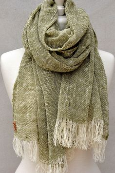 Loose Weave Merino Scarf in Army, woven in Tasmanian, Australia. Wild at heart, ethical by nature!  Wholesale welcome, international shipping.