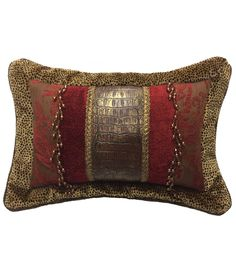 This Decorative Accent Pillow combines Velvet Cheetah, Red and Brown Chenille and a Faux Croc for a perfect Rectangle Pillow Glam Pillows, Sofa Pillows, Accent Pillows, Cushions, Burlap Pillows, Red Decorative Pillows, Custom Pillows, Designer Bed Sheets, Bedding Inspiration