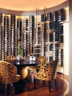 Transitional Neutral Wine Room