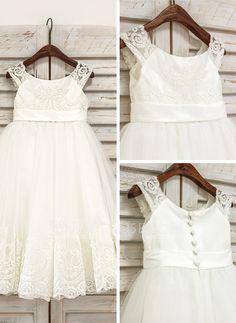 A-Line/Princess Scoop Neck Tea-length Lace Tulle Sleeveless Flower Girl Dress Flower Girl Dress