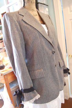 SALEYves Saint Laurent Wool Blazer Jacket Grey by OfLinenandLace, $42.50