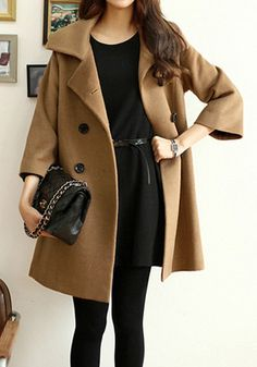 Camel Pea Coat - never goes out of style