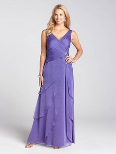 X-Top Brooch Detail Tiered Chiffon Gown