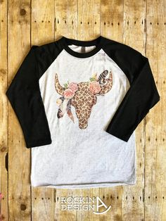 Leopard Bull Skull / baseball raglan / graphic by RockinAdesign graphic tee, western, Rockin A Design, raglan, baseball tee, rodeo, cowgirl, leopard, steer skull, cow skull, southern, feathers, country girl, ranch wife, boho, rodeo outfit, barrel racer