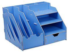 Menu Life Desk Organiser Drawers Office Desk Storage Boxes File Holder Stand Bookends Rack (Light Blue)