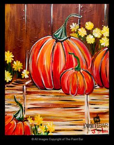 Pumpkins on a Haystack Painting - #Halloween #Fall