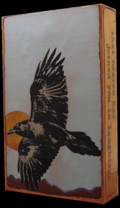 """RETIRED """"Take Wing"""" Spiritile by Houston Llew. Quote- """"You have flown so high and so well that heaven has joined you in laughter."""" - Anonymous. We love all of Houston's bird designs.... but we're not ornithologists... what sort of bird do you suppost this guy is? A black bird? Raven or crow?"""
